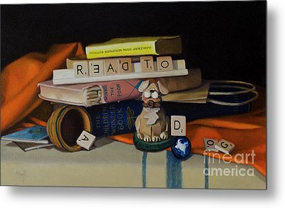 Read To A Dog Metal Print by Margit Sampogna