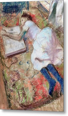 Reader Lying Down Metal Print by Edgar Degas