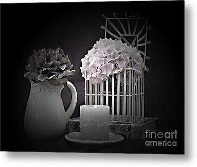 Reading Book Of Memories By Candlelight Metal Print
