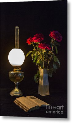 Metal Print featuring the photograph Reading By Oil Lamp by Brian Roscorla