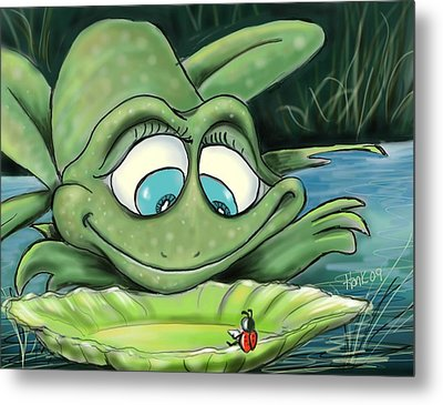 Reading By The Pond Metal Print by Hank Nunes