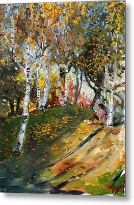 Reading In The Park  Metal Print by Ylli Haruni