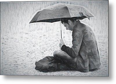 Reading In The Rain - Umbrella Metal Print by Nikolyn McDonald