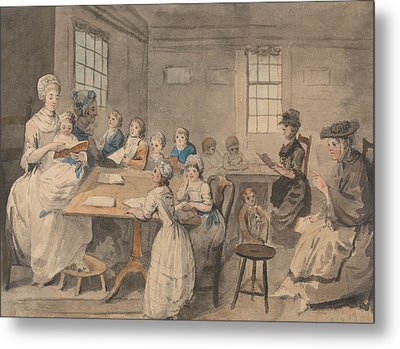 Reading Lesson At A Dame School Metal Print