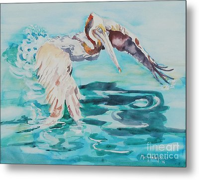 Metal Print featuring the painting Ready To Take Off by Mary Haley-Rocks