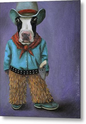 Real Cowboy Metal Print by Leah Saulnier The Painting Maniac
