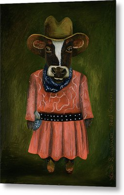 Metal Print featuring the painting Real Cowgirl by Leah Saulnier The Painting Maniac