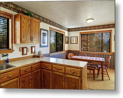 Metal Print featuring the photograph Real Estate Kitchen And Dining Room by James Eddy