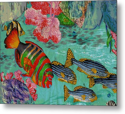 Real Fish Do Not Need Maps Metal Print by Anne-Elizabeth Whiteway