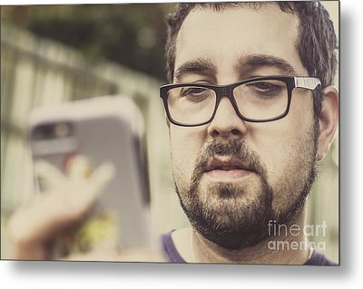 Real Life Bearded Hipster Using Smart Phone Metal Print by Jorgo Photography - Wall Art Gallery
