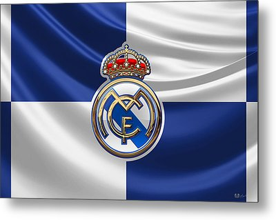 Real Madrid C F - 3 D Badge Over Flag Metal Print by Serge Averbukh