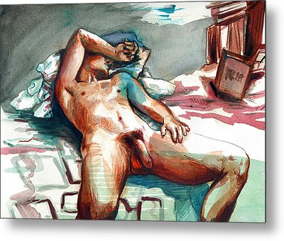 Nude Reclined Male Figure Metal Print