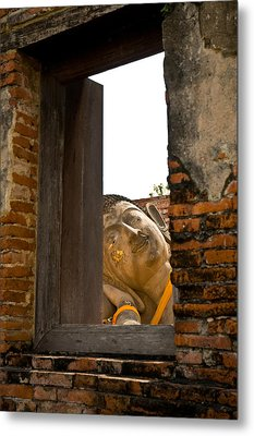 Reclining Buddha View Through A Window Metal Print by Ulrich Schade