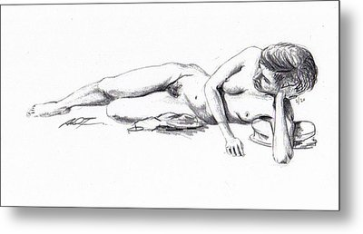 Reclining Drawing Model Metal Print