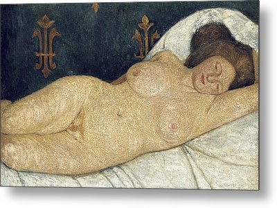 Reclining Female Nude Metal Print by Paula Modersohn-Becker
