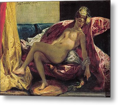 Reclining Odalisque Metal Print by Ferdinand Victor Eugene Delacroix
