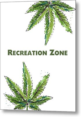 Metal Print featuring the mixed media Recreation Zone Sign- Art By Linda Woods by Linda Woods