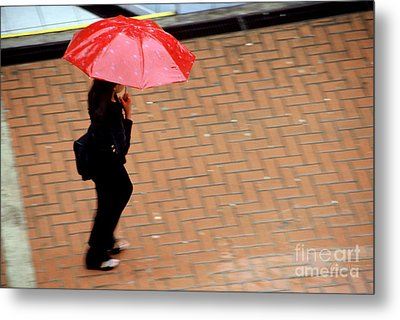 Red 1 - Umbrellas Series 1 Metal Print by Carlos Alvim