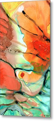 Red Abstract Art - Decadence - Sharon Cummings Metal Print