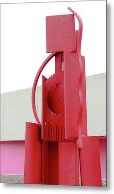 Red Abstract Sculpture Metal Print by Debra Martz
