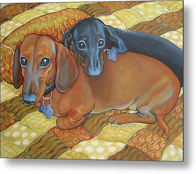 Red And Black Dachshunds - Best Buds Metal Print by Rebecca Korpita