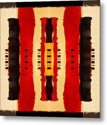 Red And Black Panel Number 4 Metal Print by Carol Leigh