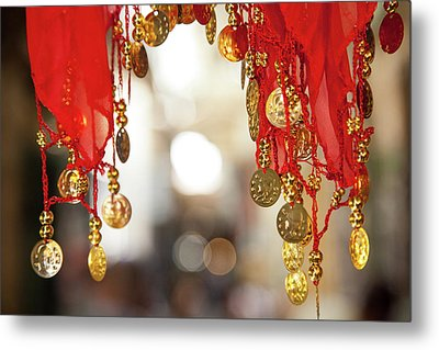 Red And Gold Entrance To Market Metal Print