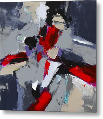 Metal Print featuring the painting Red And Grey Abstract By Elise Palmigiani by Elise Palmigiani