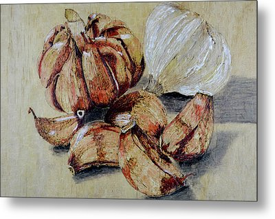 Red And White Garlic Metal Print by Zilpa Van der Gragt