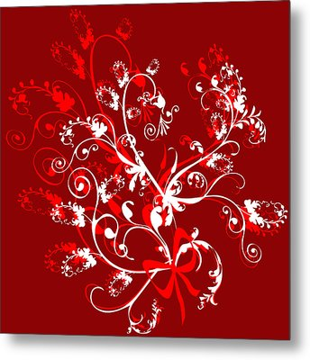 Red And White Ornaments Metal Print by Svetlana Sewell
