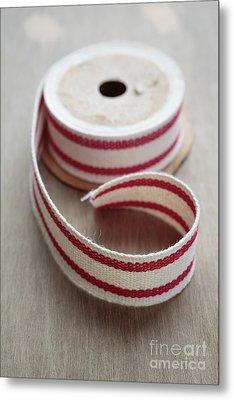 Red And White Ribbon Spool Metal Print