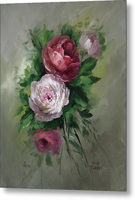 Red And White Roses Metal Print by David Jansen