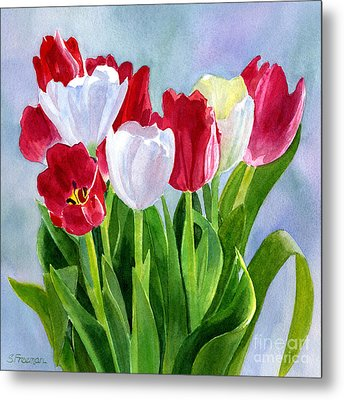Red And White Tulip Bouquet Metal Print