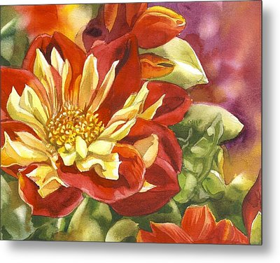 Red And Yellow Dahlias Watercolor Metal Print by Alfred Ng