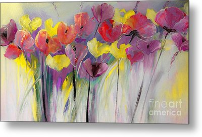 Red And Yellow Floral Field Painting Metal Print
