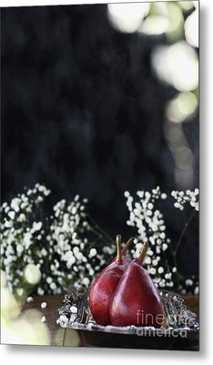 Metal Print featuring the photograph Red Anjou Pears by Stephanie Frey