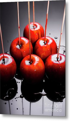 Red Apples With Caramel  Metal Print
