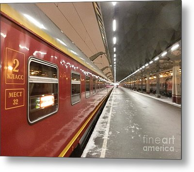 Red Arrow Express Metal Print by Margaret Brooks