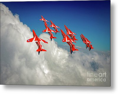 Metal Print featuring the photograph Red Arrows Sky High by Gary Eason