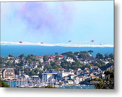 Red Arrows Waving At Falmouth Metal Print