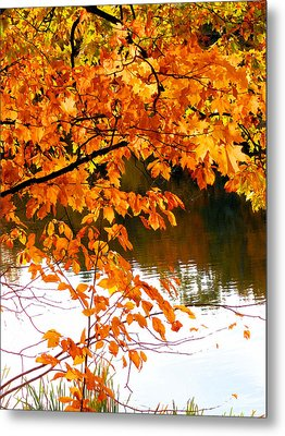 Red Autumn Leaves 2 Metal Print by Lanjee Chee