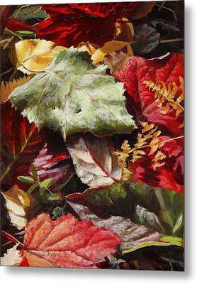 Metal Print featuring the painting Red Autumn - Wasilla Leaves by Karen Whitworth