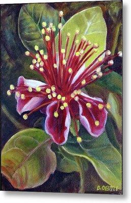 Pineapple Guava Flower Metal Print