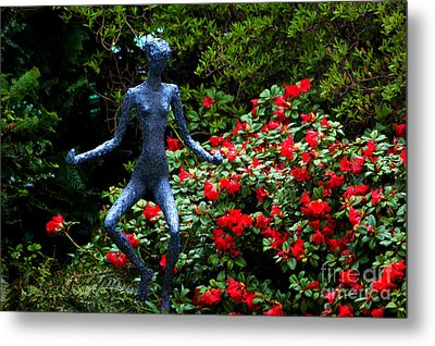 Metal Print featuring the photograph Red Azalea Lady by Susanne Van Hulst