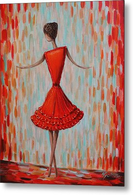 Red Ballerina Metal Print