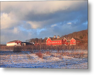 Red Barn And Orchard Winter Evening Metal Print by John Burk