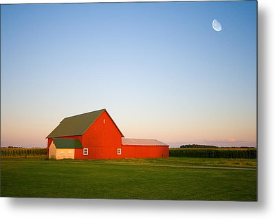 Red Barn And The Moon Metal Print by Alexey Stiop