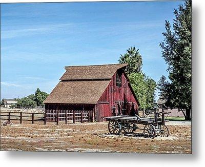 Red Barn And Wagon Metal Print