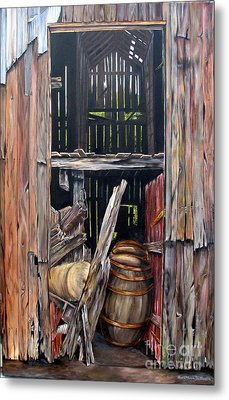 Metal Print featuring the painting Red Barn Door by Anna-Maria Dickinson