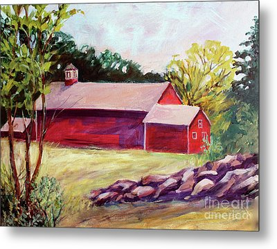 Metal Print featuring the painting Red Barn I by Priti Lathia
